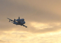 Shuttle Discovery leaves Kennedy Space Center for last time.